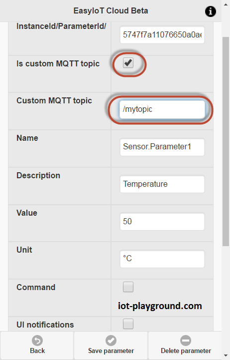 Custom MQTT topic