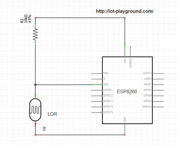 ESP8266 light sensor schematic