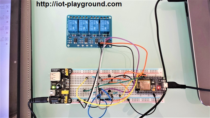ESP8266 internet connected 4 relay switch on