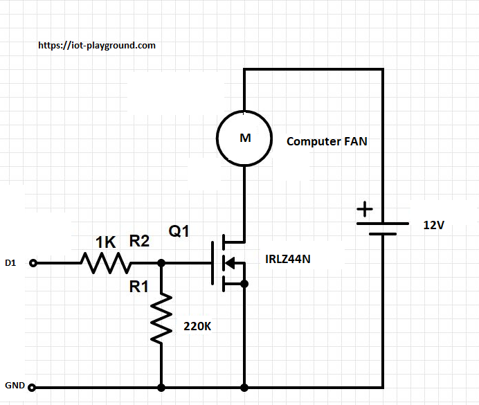esp8266 wi fi fan controller dzone iot there are 3 and 4 pin connection versions in our case we will use only 2 pins gnd and 12v vcc the fan is controlled by a mosfet irlz44n connected to